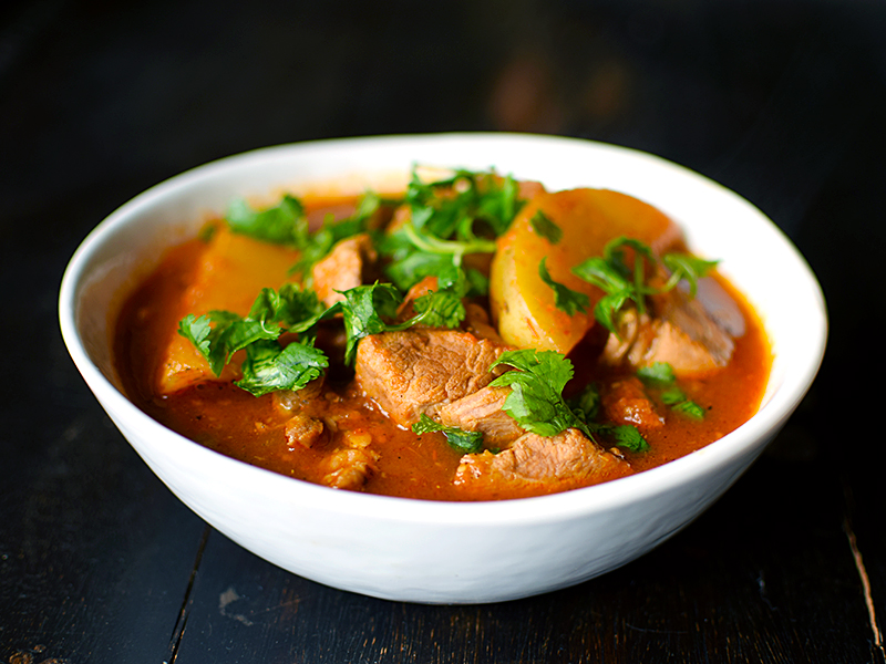 Pork Stew with Tomatoes and Tomatillos