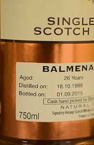 Balmenach 26, 1988, Signatory for Binny's