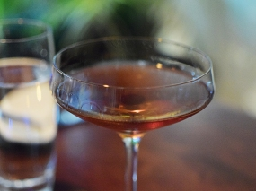 The Meritage Manhattan, made with cognac, sweet vermouth and kirsch.