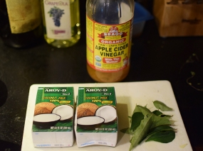 Coconut milk, vinegar, curry leaves