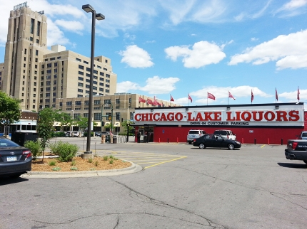 A view of the Midtown Market across the street and Chicago-Lake Liquors across the parking lot. I couldn't resist stopping in at the latter for old times' sake but the single malt section was very sad.
