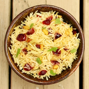 Pulao with Cranberries and Pine Nuts