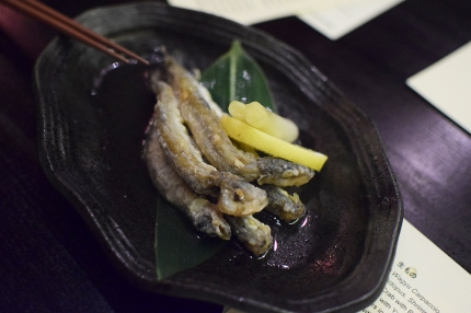 So indeed would this plate of tiny roe-filled smelt, battered and fried and then pickled.