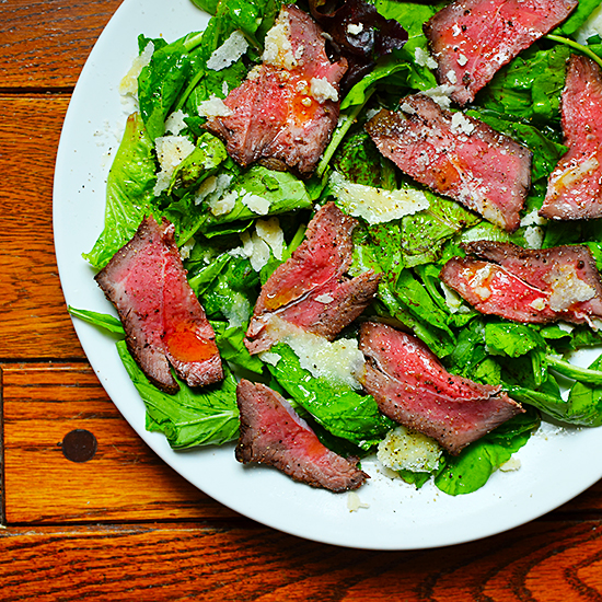 Cold Beef Salad with Greens and Parmesan