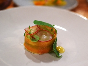 Piccolo: Fava bean tart with fennel jam, époisses cheese, and shaved radish