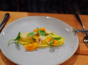 Piccolo: Salted butter raviolini with lobster, corn pudding, and cape gooseberry