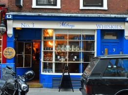 A brighter blue at Milroy's on Greek Street in Soho.