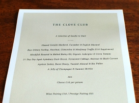 The Clove Club: Five Course Menu