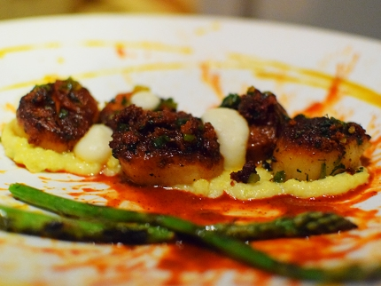 Tongue in Cheek: Scallops, asparagus, chorizo, cauliflower, achiote bbq