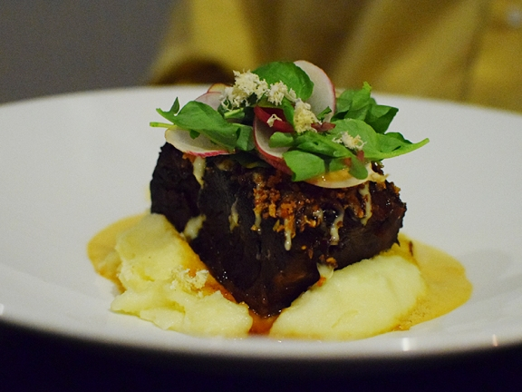 Tongue in Cheek: Beef Short Rib, mashed potato, pickled red onion, horseradish