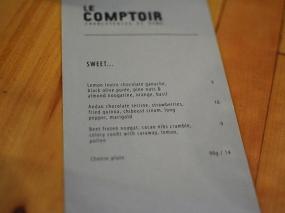 Le Comptoir: Dessert Menu