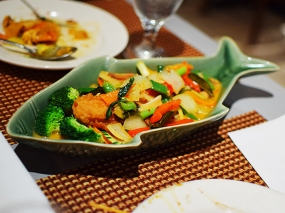 The catfish curry with a coconut milk-based red curry was also quite good, and suggests that their red and Panang curry might be better than their green curry.