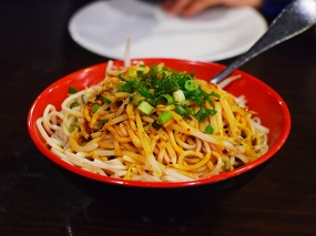 As the boys usually insist on dan dan noodles, we'd never got this before this year. But we sneaked it past them earlier this year and now it's in the rotation. Not unlike dan dan noodles but with a little more vinegar.