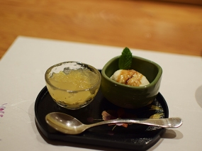 Yuzu-sapote jelly with home-made tofu mousse.