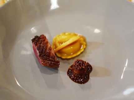Piccolo: Duck breast with offal sausage, caramelized parsnip raviolino, and pickled mustard seeds