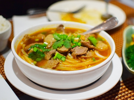 The broth in this classic noodle soup was quite good but the meat (we got it with beef) was not: the sliced beef was too chewy and the meatballs were dull.