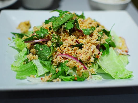 The only meat for the larb is chicken but it's quite good anyway.