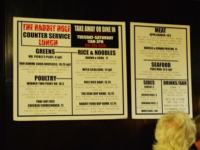 This was the lunch menu as posted on the wall by the counter on Wednesday.