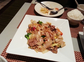 "From the ""Noodle Dishes"" section of the menu, the pad kee mow was quite good too."