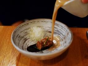 Piccolo: Chestnut soup with black garlic puree, pecorino romano, and crispy shallots