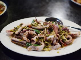 We got this once and probably won't get it again. The squid was a little rubbery and the dish was uninteresting.