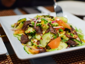 The beef salad, however, is more like a regular green salad with a Thai dressing and sliced beef than the nam tok (waterfall beef) we were expecting. Good flavour but I doubt we'll get it again.
