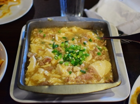 This used to be on the Chinese specials menu and the name doesn't quite prepare you for the dish, which is mild and all about the texture of the soft tofu and the fatty beef.