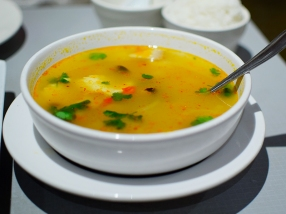 The tom yum, likewise, is not bad but had a sweet'ish edge that we didn't care for.