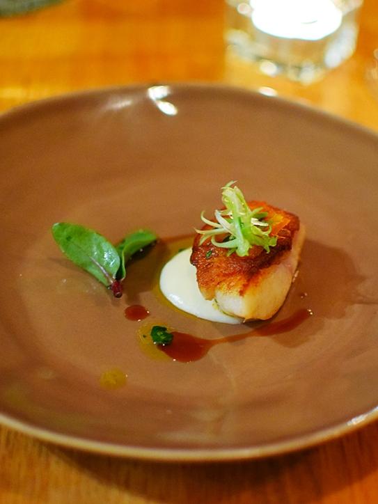 Piccolo: Flounder with potato puree, botarga/olive oil and squash jus