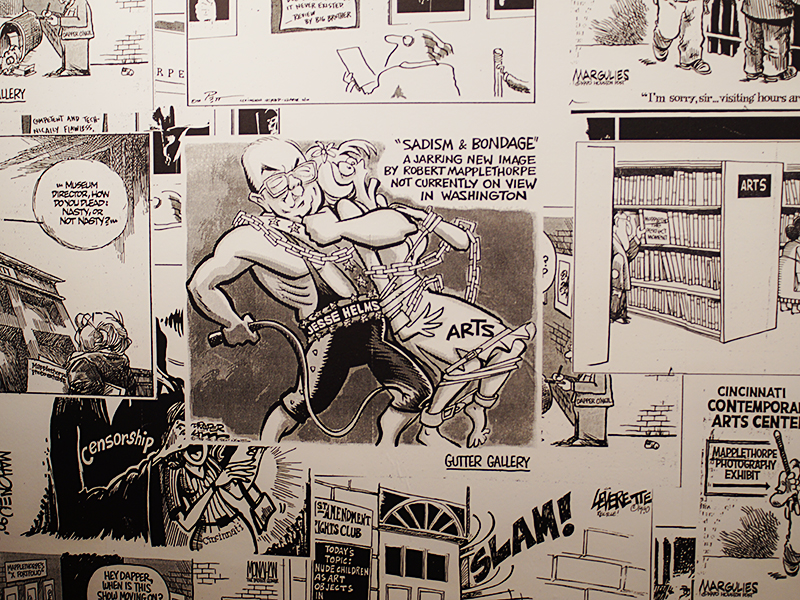 From a wall-sized collage of cartoons about the Jesse Helms-led censorship campaign against Mapplethorpe and others in the late '80s.