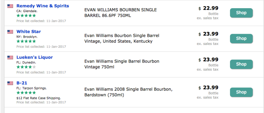 evan williams single barrel, us