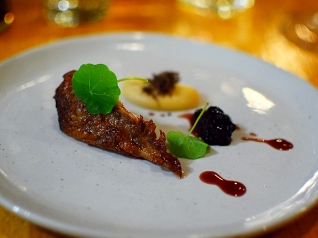 Piccolo: Aged squab with parsnip custard, black truffle and huckleberry