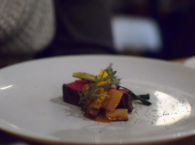 Piccolo: Beef skirt with compressed orange, gjetost, and wild mushrooms