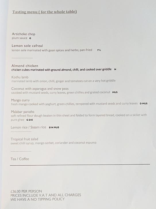 Quilon: Tasting Menu