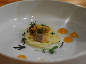 Piccolo: Raw potato with fennel, clam, and fresh herbs