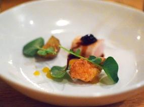 "Piccolo: Rabbit ""tasting"" with sunchokes, fennel puree, and amarene cherries"