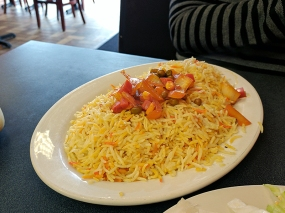 The rice as served with the barbecue chicken