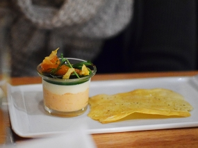 Piccolo: Salmon mousse with parsnip panna cotta, dill, and citrus