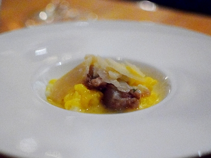 Piccolo: Scrambled brown eggs with pickled pig's feet, truffle butter, and parmigiano reggiano