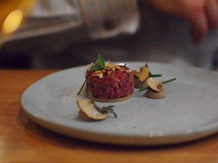 Piccolo: Beef tartare with mushroom puree, blue cheese, and chestnuts