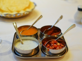 A decent array of chutneys/pickles. The lime pickle was quite good.