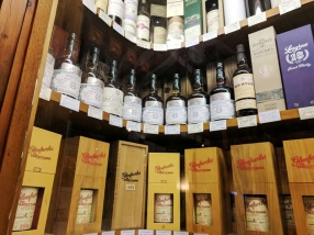 Part of the row of Glenfarclas Family Casks, including some very old ones.