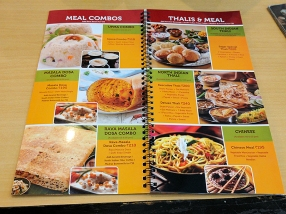 As this is Delhi the menu includes a north Indian thali and a Chinese thali. Everything is vegetarian, of course.