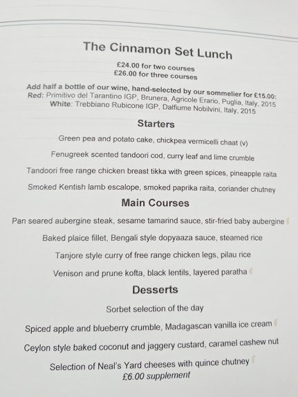 The Cinnamon Club: Set lunch menu