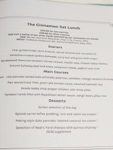 The Cinnamon Club: Set lunch menu (April)