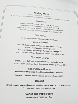 The Cinnamon Club: The tasting menu