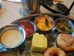 The thali also included a bit of a non-sequitur in cauliflower soup. The spiced grated coconut was nice, however.