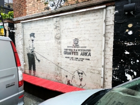 This, however, is by Banksy. In the Cargo Club courtyard.