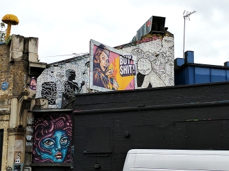 At the intersection of Great Eastern Street and Shoreditch High Street.