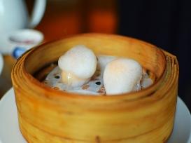A. Wong: Clear Shrimp Dumpling, Citrus Foam